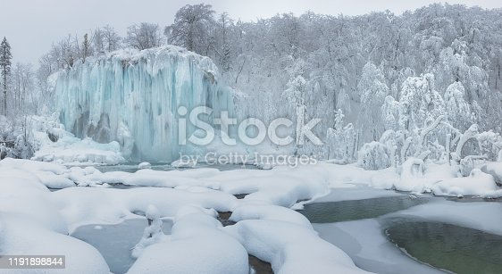 Unique winter scene with frozen waterfalls and fresh snow in Plitvice Lakes National Park - Croatia