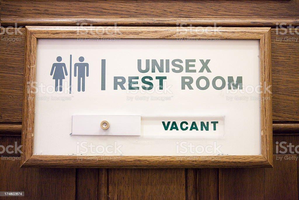 Unisex Restroom Sign - Vacant stock photo