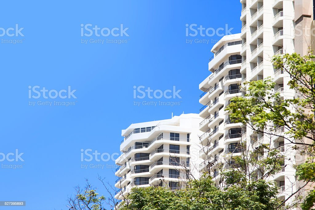 A stock image of a group of holiday strata units.