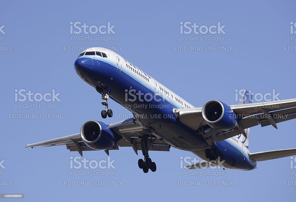 United Airlines 757 stock photo