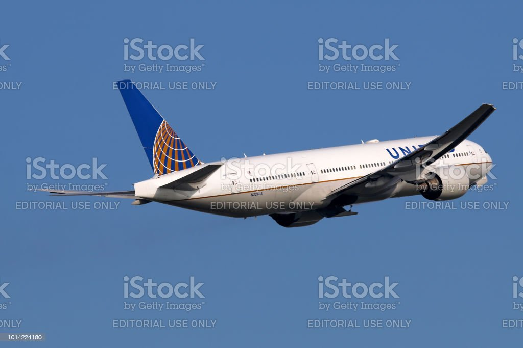 United Airlines aircraft take-off stock photo