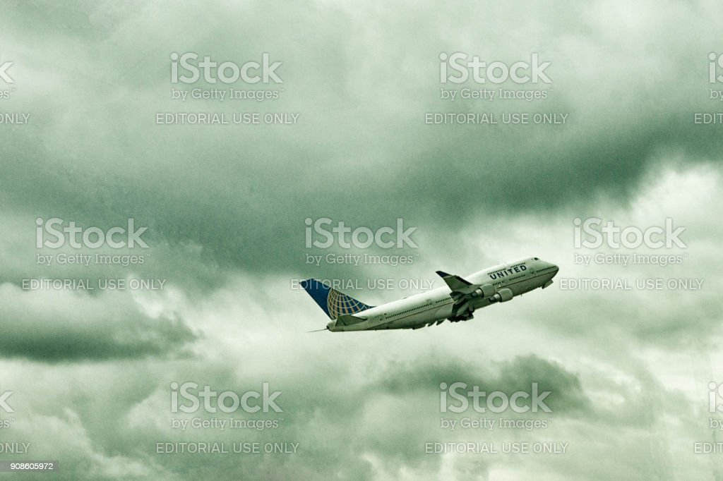United Airlines aircraft taking off stock photo