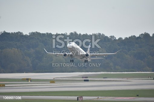 Charlotte, NC/ USA - October 16th, 2018: A United Airlines Embraer ERJ-175LR aircraft takes off from Charlotte Douglas International Airport.