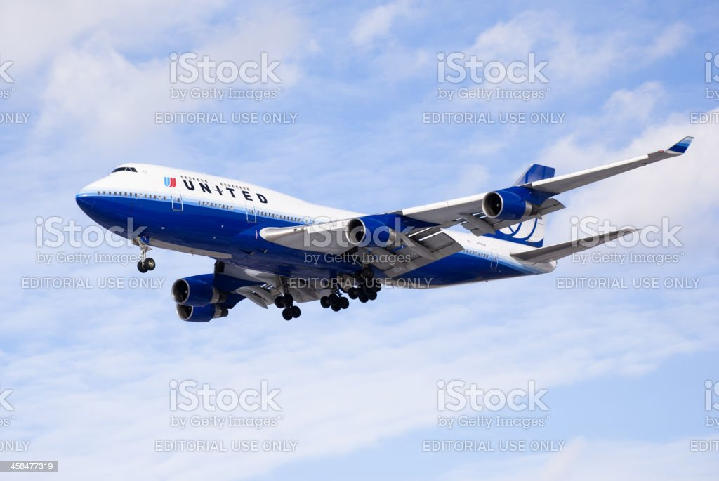 United Airlines Boeing 747 Airplane Flying stock photo