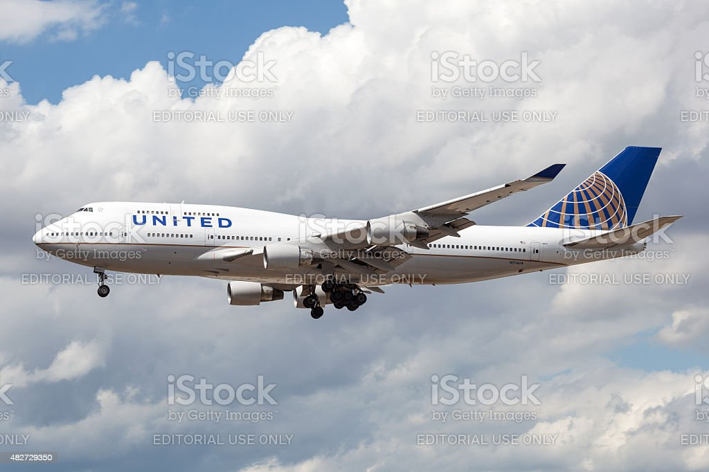United Airlines Boeing 747 stock photo