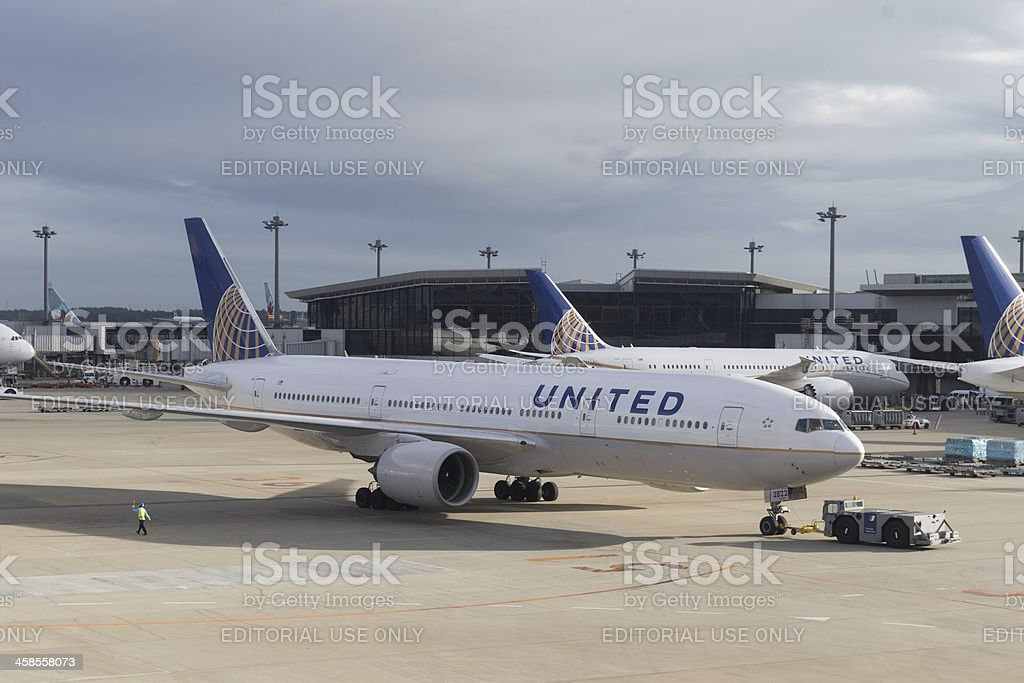United Airlines Boeing 777-200ER royalty-free stock photo