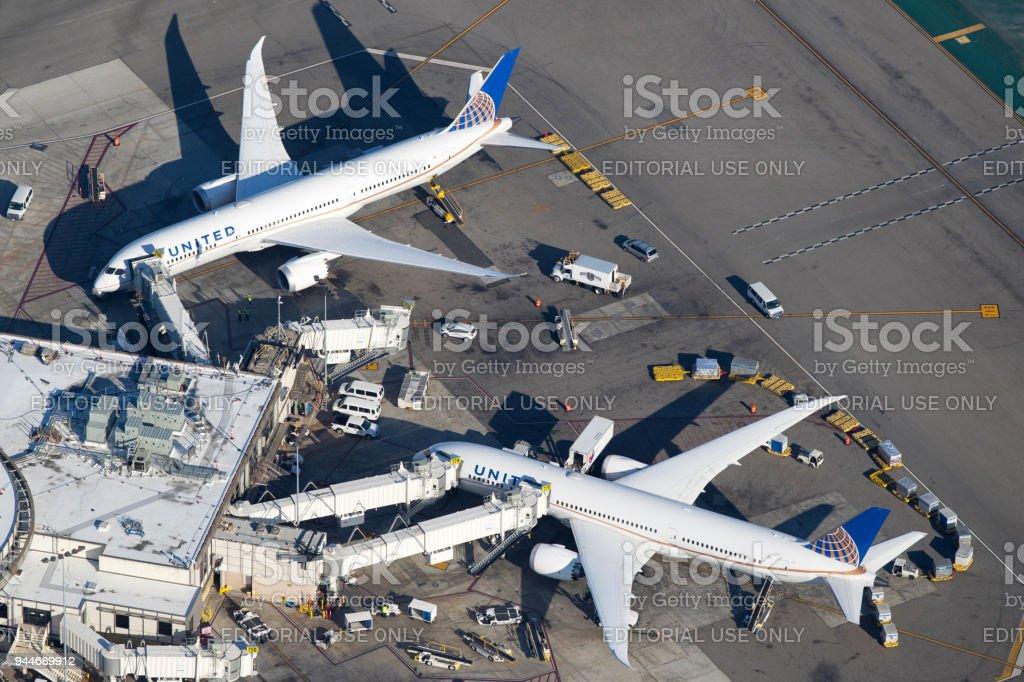 United Airlines Boeing 787 Dreamliner stock photo