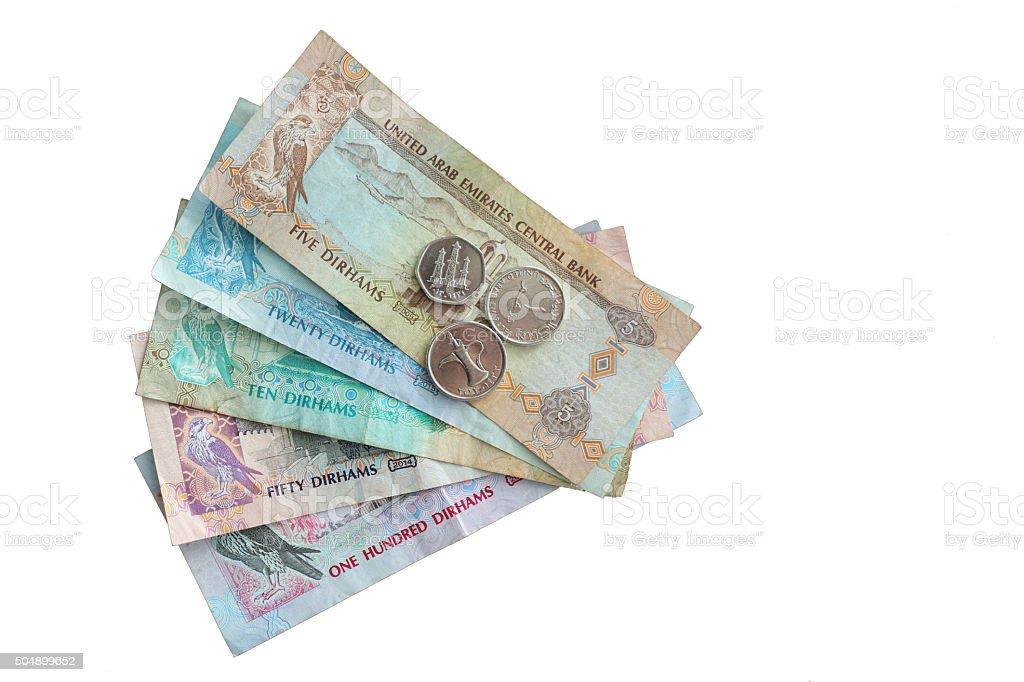 United Arab Emirates Dirham (AED) Money on White Background stock photo