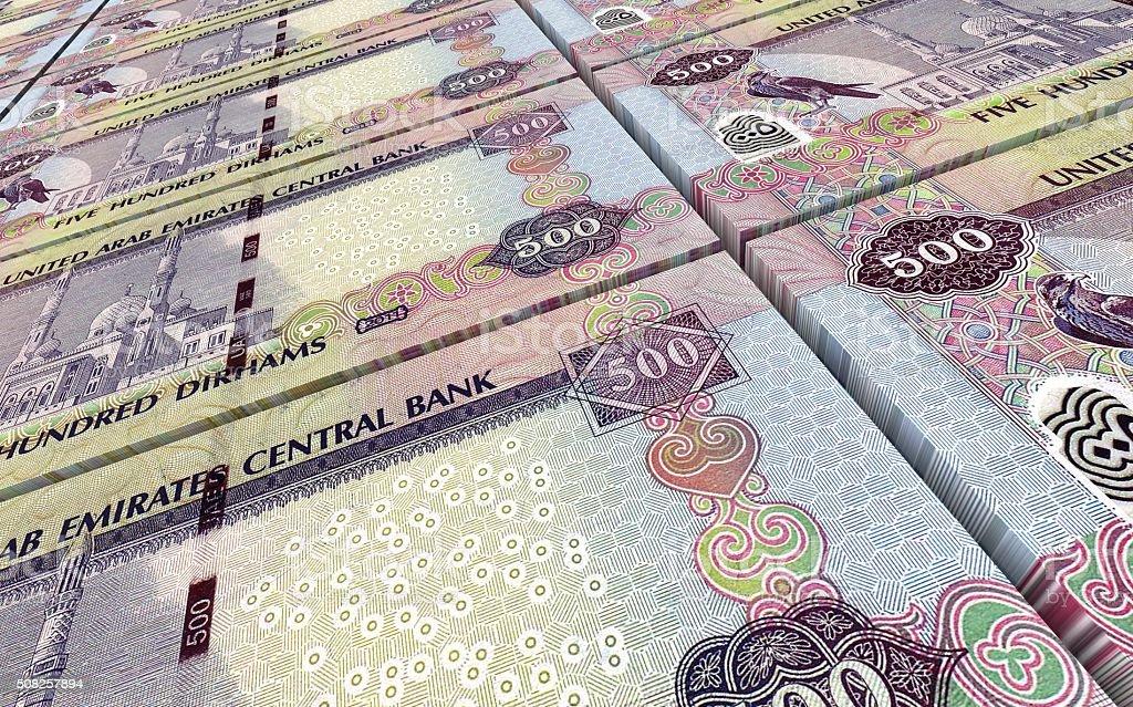 United Arab Emirates dirhams bills stacks background. stock photo