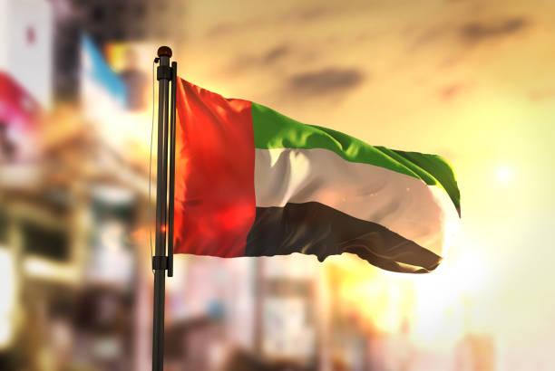 united arab emirates flag against city blurred background at sunrise backlight - uae flag zdjęcia i obrazy z banku zdjęć