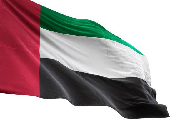 united arab emirates flag close-up waving isolated white background - uae flag zdjęcia i obrazy z banku zdjęć
