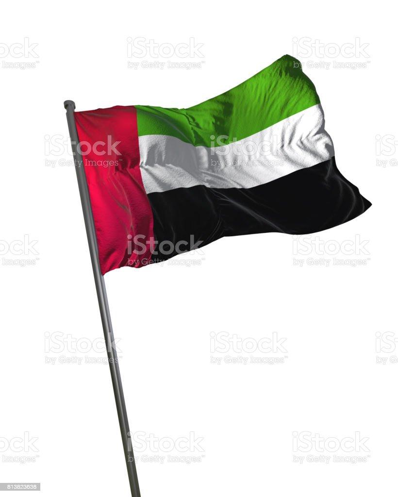 United Arab Emirates Flag Waving Isolated on White Background Portrait stock photo