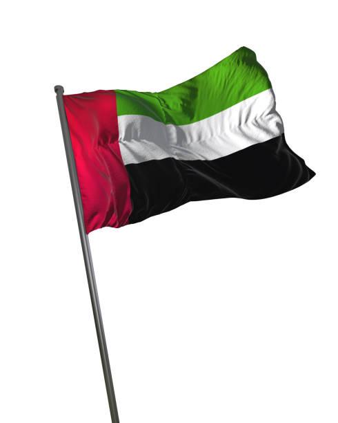 flaga zjednoczonych emiratów arabskich macha izolowane na białym tle portret - uae flag zdjęcia i obrazy z banku zdjęć