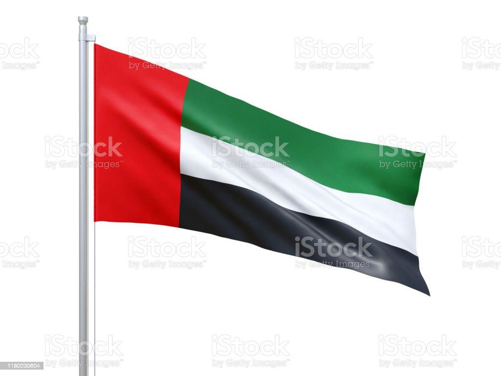阿拉伯聯合大公國國旗在白色背景上飄揚,特寫,孤立。3D 渲染 - 免版稅一個物體圖庫照片