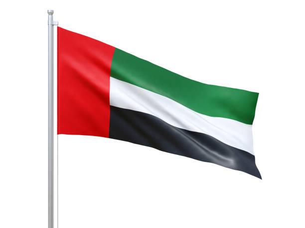 united arab emirates flag waving on white background, close up, isolated. 3d render - uae flag стоковые фото и изображения