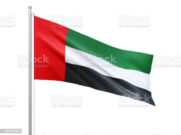 阿拉伯聯合大公國國旗在白色背景上飄揚特寫孤立3d 渲染 照片檔及更多 一個物體 照片