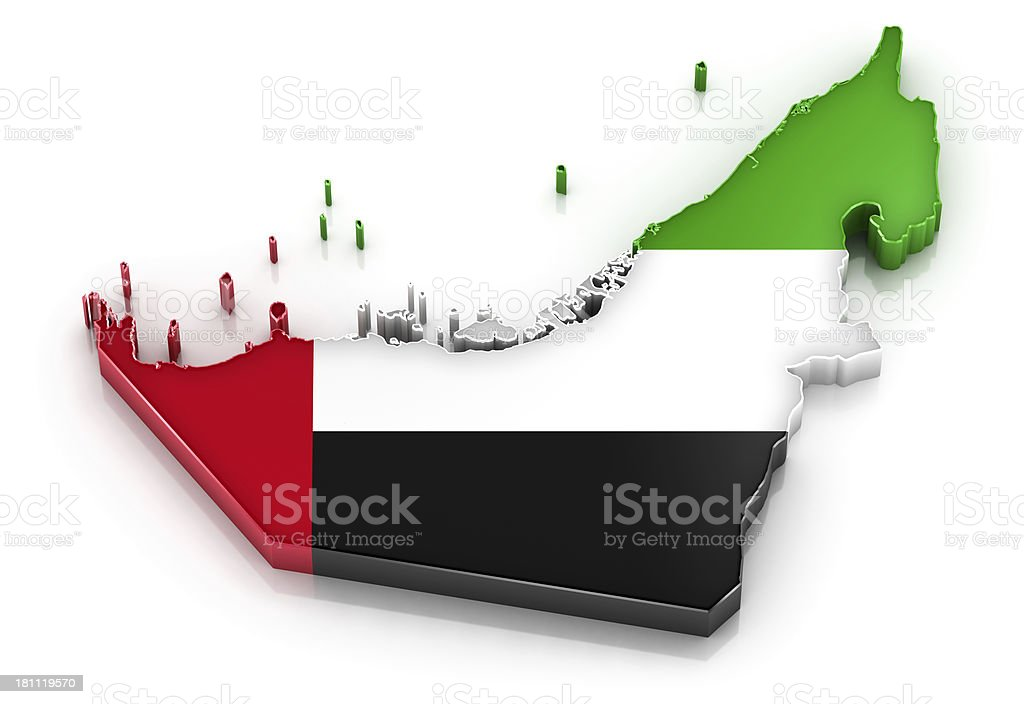 United Arab Emirates map with flag royalty-free stock photo