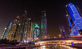 Dubai, United Arab Emirates - September 28, 2014: Skyscrapers of Dubai Marina at night