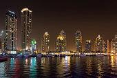 Dubai, United Arab Emirates - September 28, 2014: Skyscrapers of Dubai Marina at night