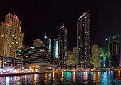 Dubai, United Arab Emirates - September 27, 2014: Skyscrapers of Dubai Marina at night