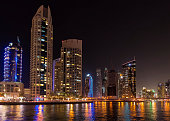Dubai, United Arab Emirates - September 27, 2014: Skyscrapers of Dubai Marina at night