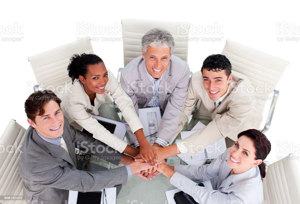 Équipe des activités unie ayant une réunion - Photo