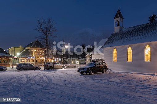 night photo of the United Church in Canmore