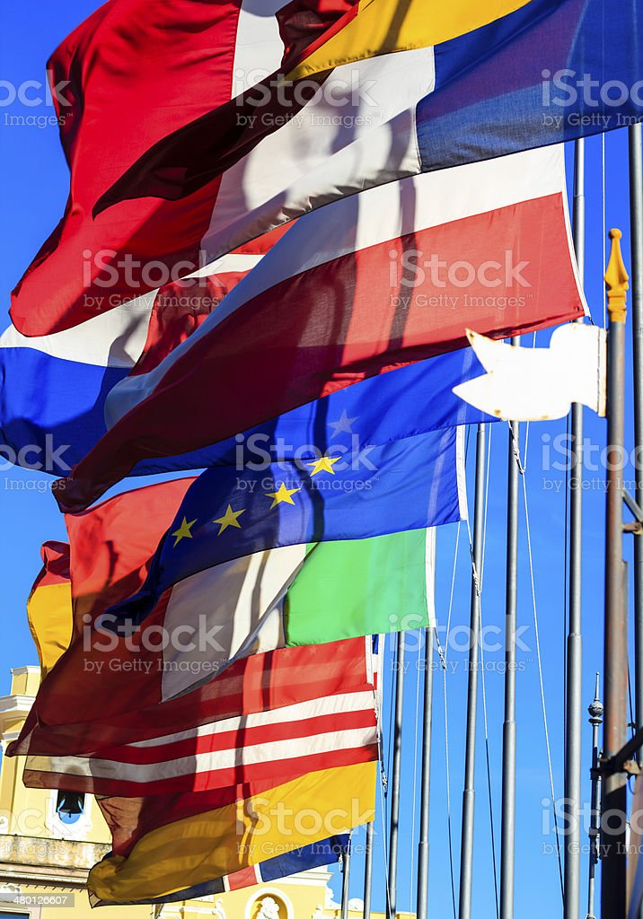 United flags of Europe stock photo