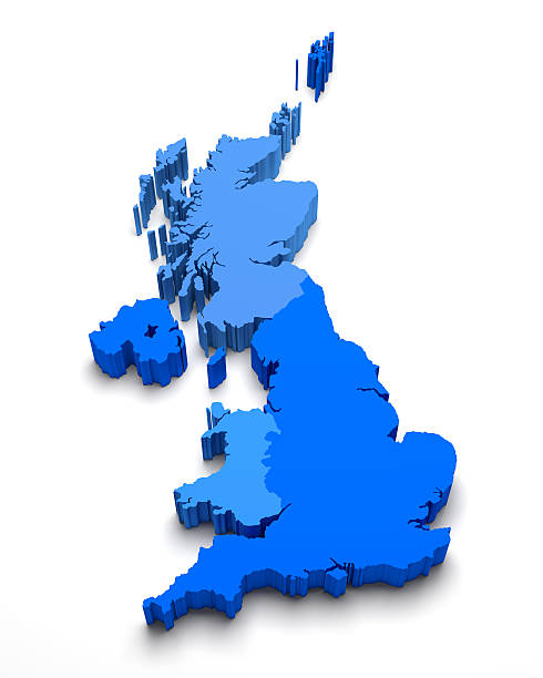 United Kingdom 3D blue map on white United Kingdom 3D blue map on white isolated uk map stock pictures, royalty-free photos & images