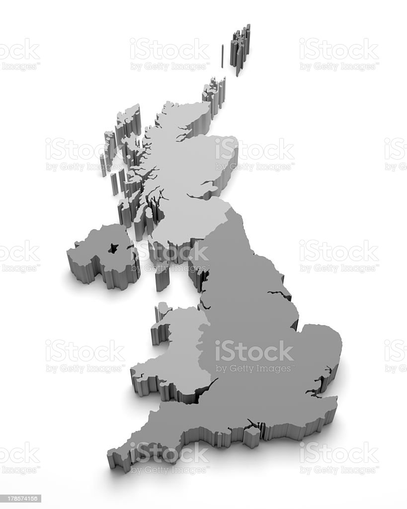 United Kingdom 3D map on white stock photo