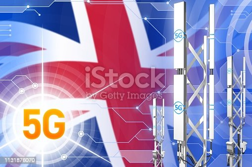 istock United Kingdom (UK) 5G industrial illustration, large cellular network mast or tower on modern background with the flag - 3D Illustration 1131876070