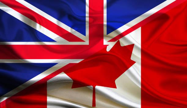 United Kingdom and Canadian flag stock photo