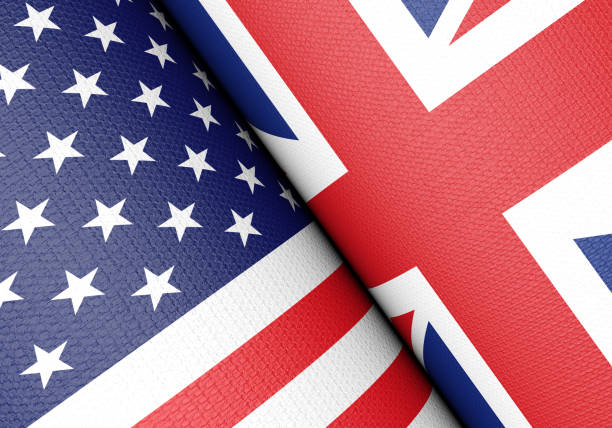 United Kingdom and United States Flag Pair stock photo