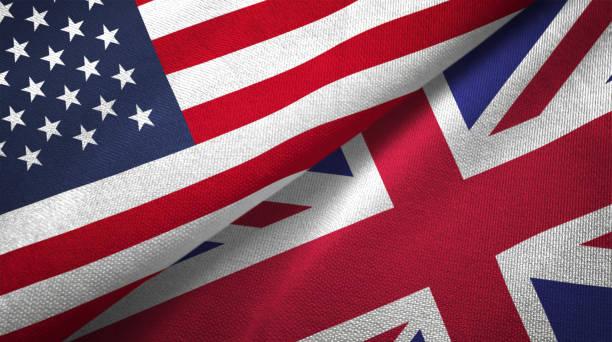 영국과 미국 두 플래그 함께 realations 섬유 옷감 직물 질감 - 영국 국기 뉴스 사진 이미지