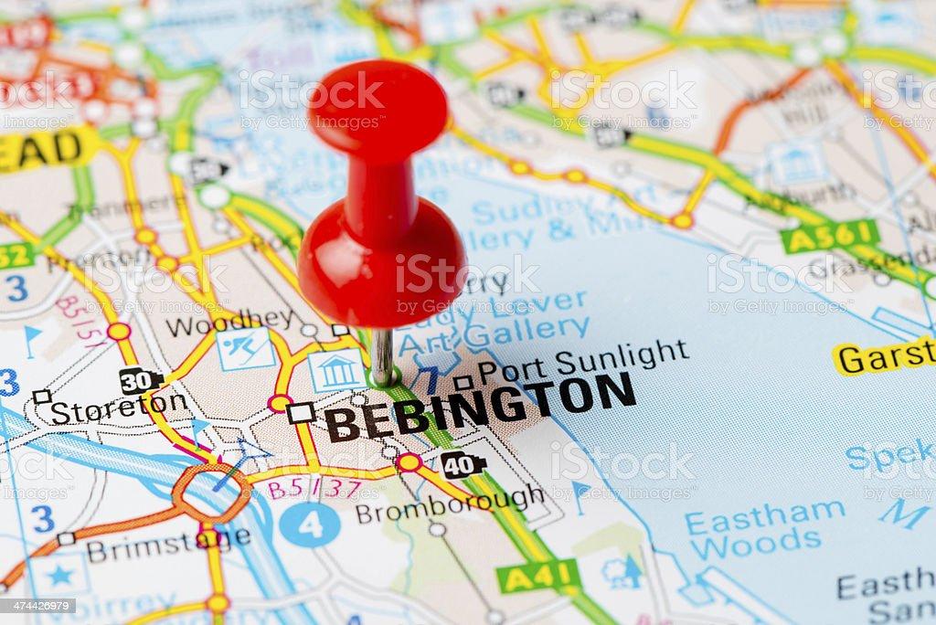 United Kingdom Capital Cities On Map Series Bebington stock photo