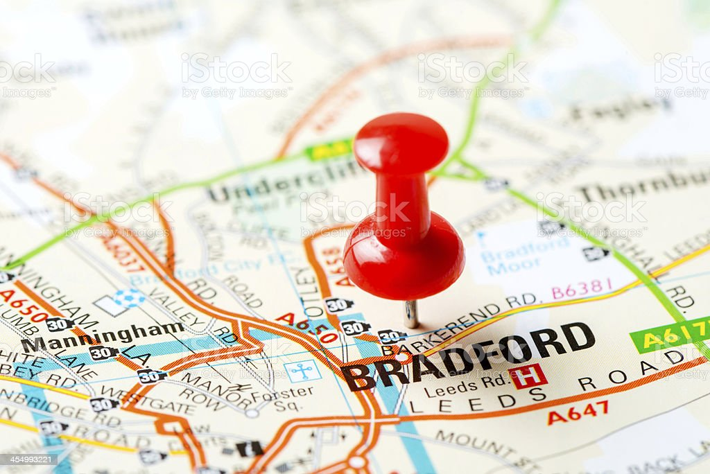 United Kingdom capital cities on map series: Bradford stock photo