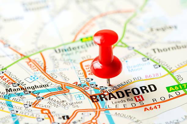 United Kingdom capital cities on map series: Bradford stock photo