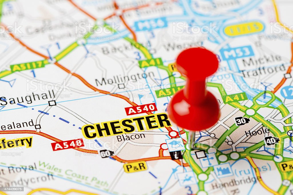 United Kingdom capital cities on map series: Chester royalty-free stock photo