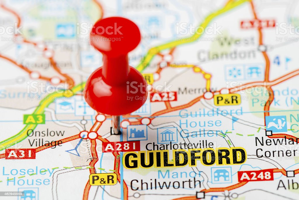 United Kingdom capital cities on map series: Guildford stock photo
