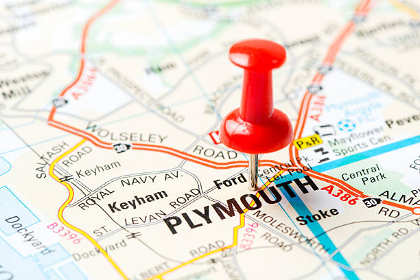 Royalty Free Map With Pin In Of Plymouth England Pictures Images