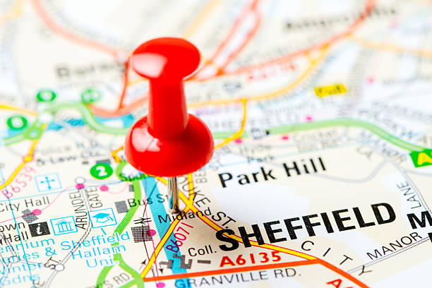 vereinigte königreich hauptstadt auf karte serie: sheffield - sheffield stock-fotos und bilder