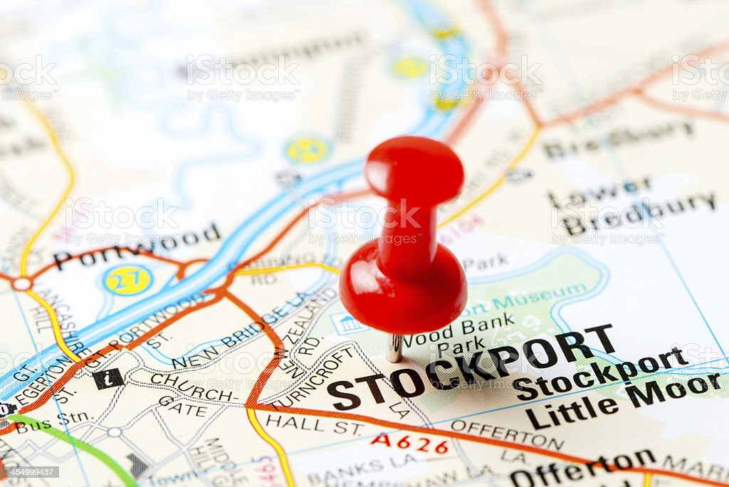 United Kingdom capital cities on map series: Stockport stock photo