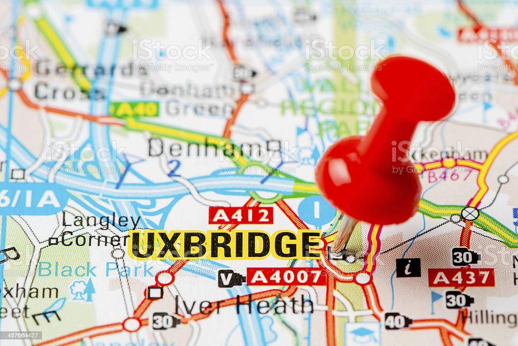 United Kingdom capital cities on map series: Uxbridge stock photo