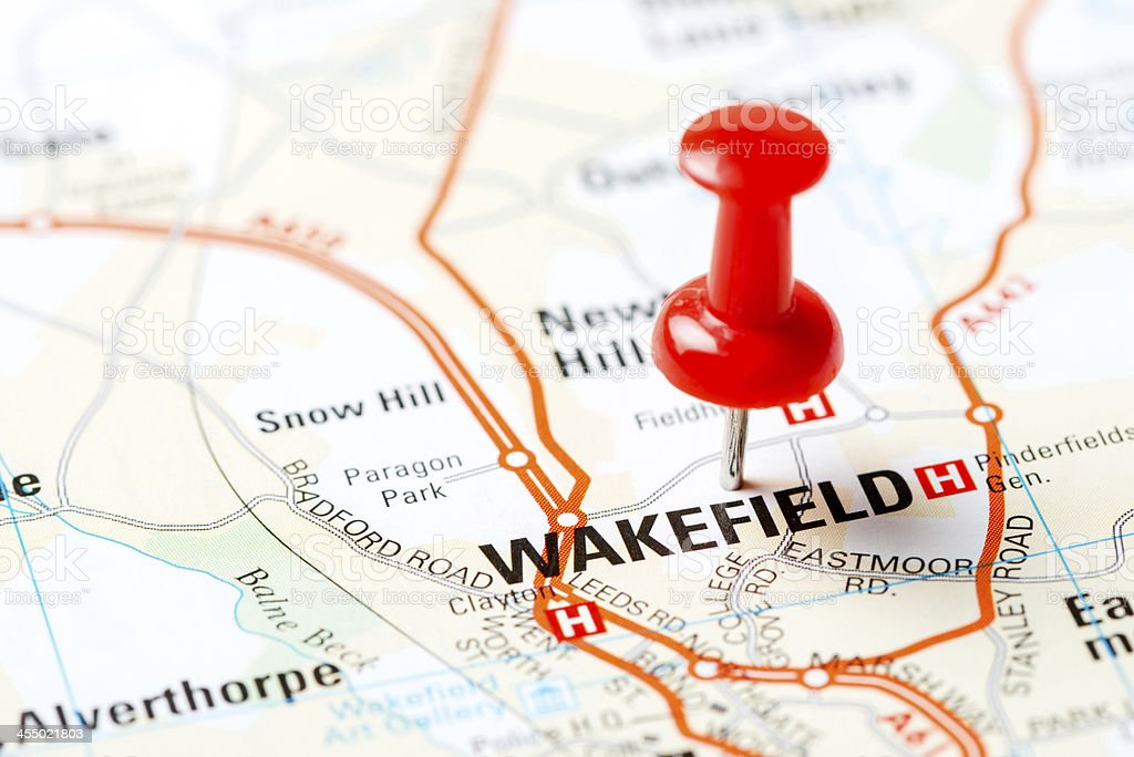 United Kingdom capital cities on map series: Wakefield stock photo