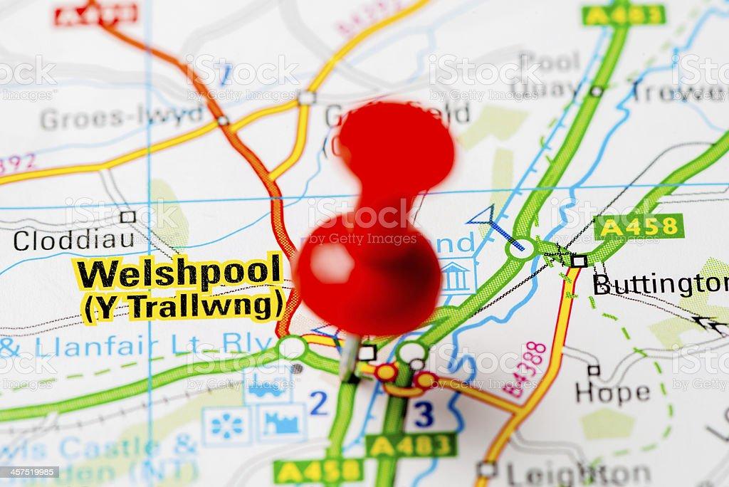 United Kingdom capital cities on map series: Welshpool stock photo
