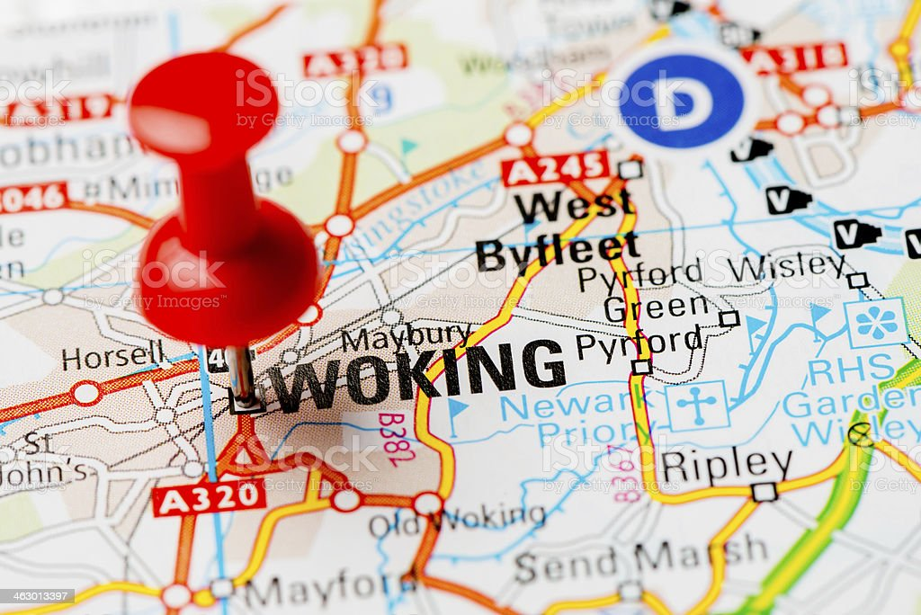 United Kingdom capital cities on map series: Woking stock photo