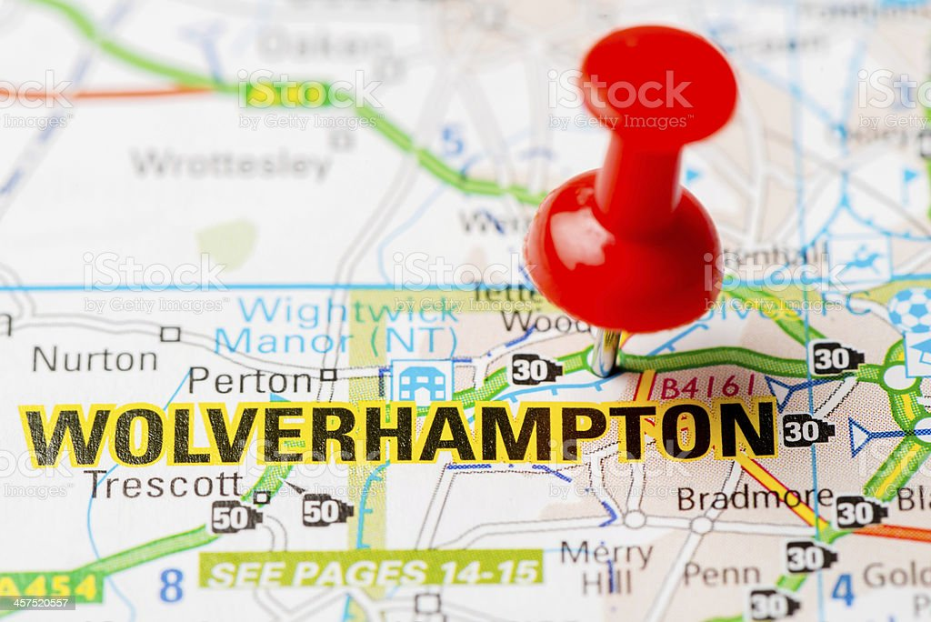 United Kingdom capital cities on map series: Wolverhampton stock photo