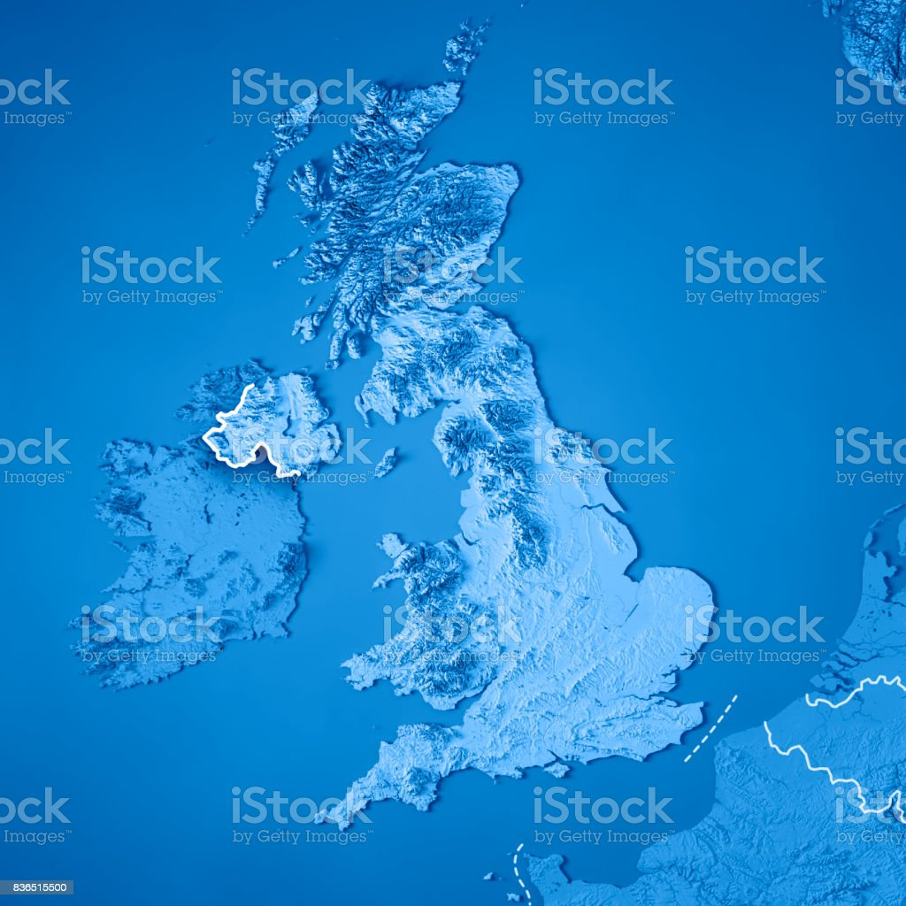 United Kingdom Country 3D Render Topographic Map Blue Border stock photo