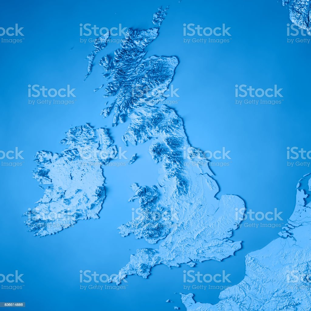 United Kingdom Country 3D Render Topographic Map Blue stock photo