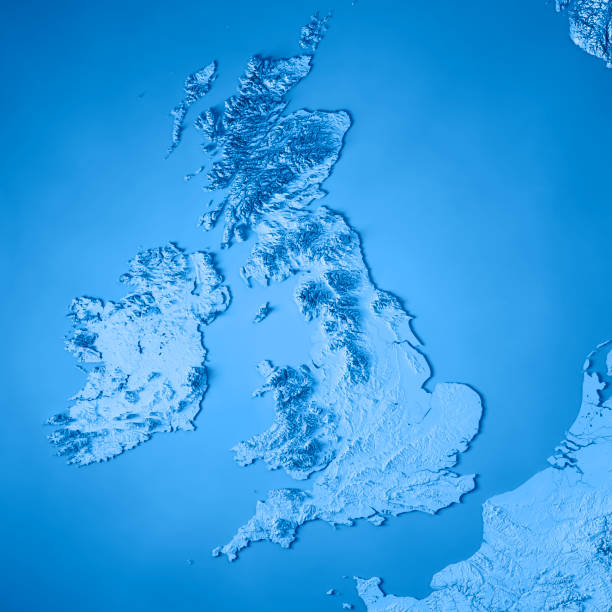 united kingdom country 3d render topographic map blue - english channel stock pictures, royalty-free photos & images